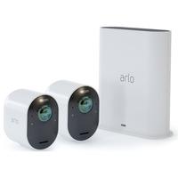 Arlo Ultra Wireless System 2 Cams, Überwachungskamera weiß, Basistation + 2 Arlo Ultra Kameras