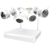 EZVIZ ezNVR KIT, Überwachungskamera 8 Kanal NVR, 4 Husky Air (1080p)