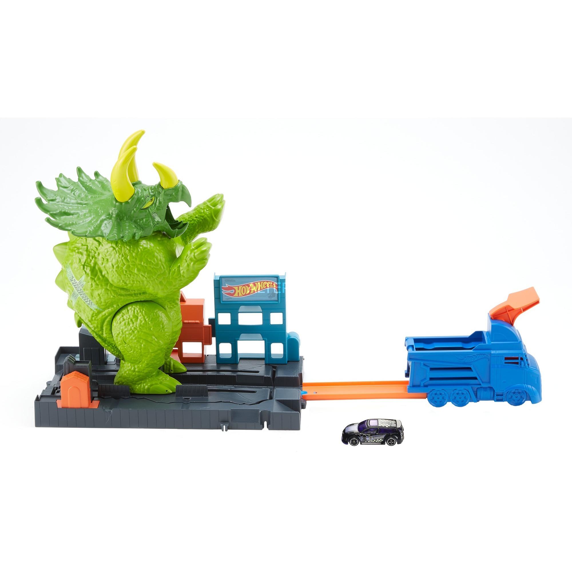 Mattel City Triceratops-Angriff Spielset Neu Autos