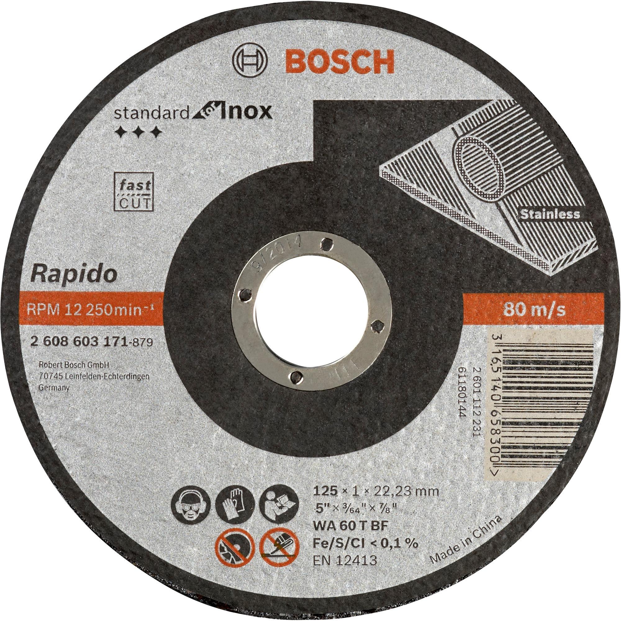 Bosch Trennscheiben Standard For Inox Rapido 125x1mm Wa 60 T Bf