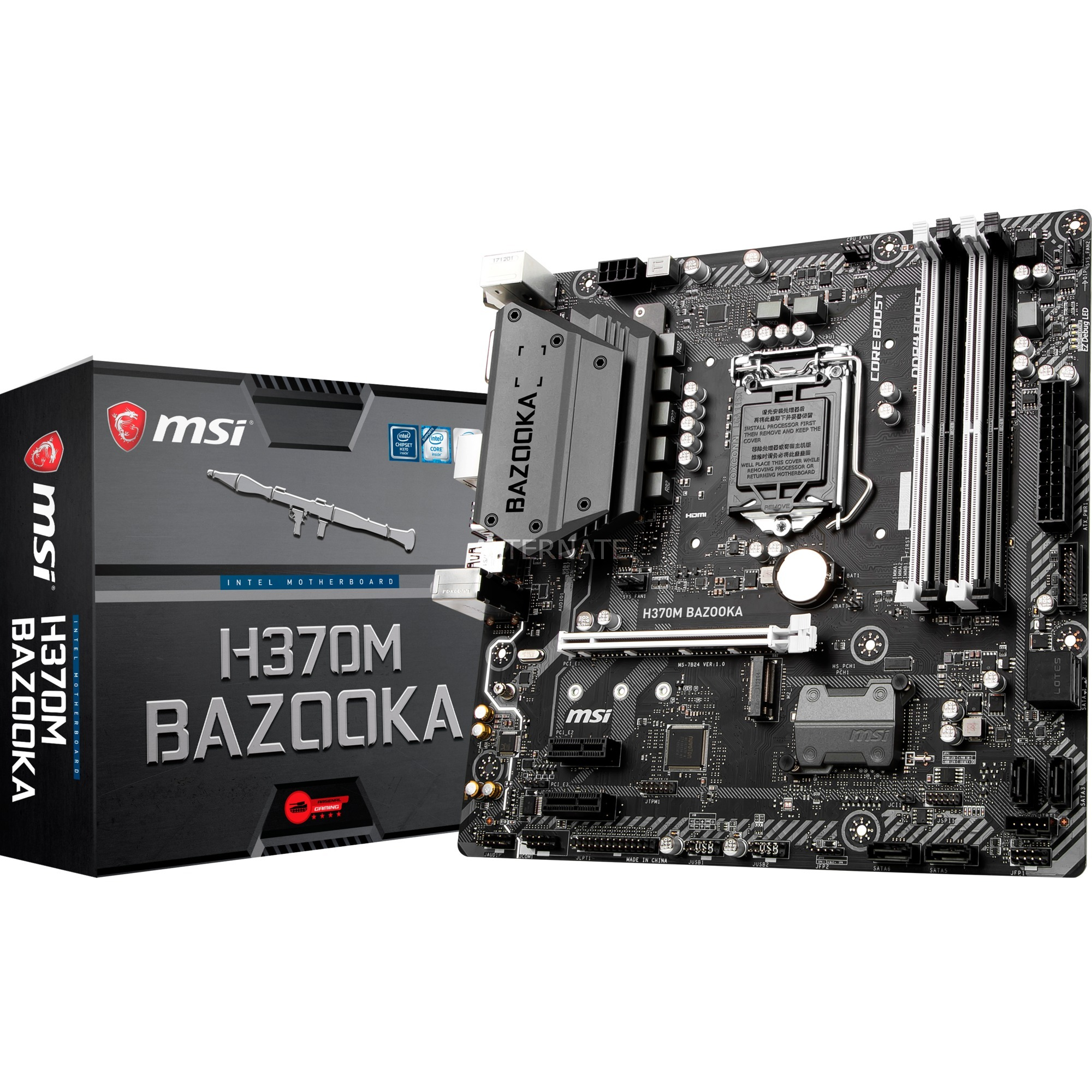 MSI H370M BAZOOKA, Mainboard Gigabit-LAN, Sound, M.2, SATA3, USB 3.0