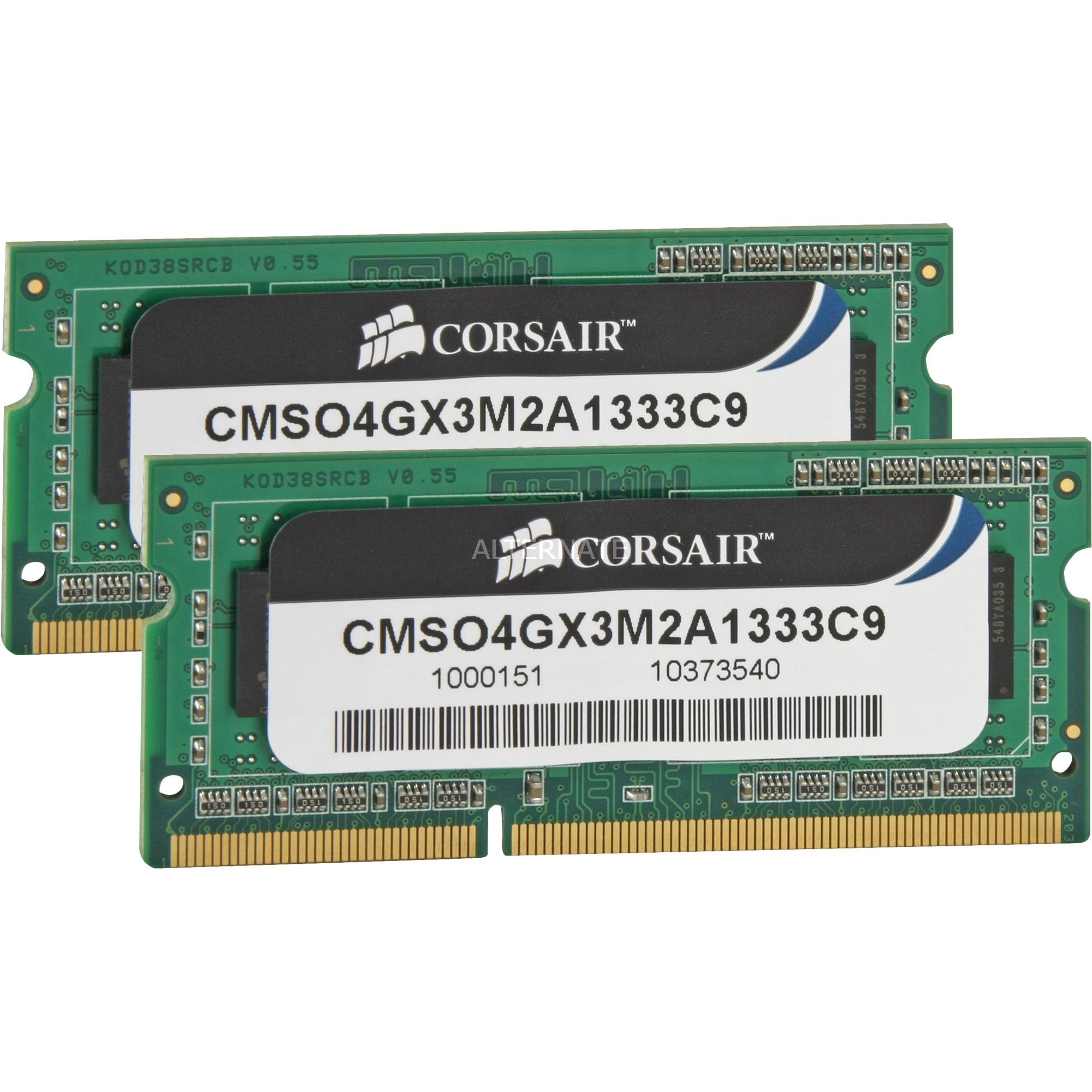 Corsair ValueSelect SO DIMM 4 GB DDR3 1333 Kit Arbeitsspeicher CMSO4GX3M2A1333C9 Lite Retail
