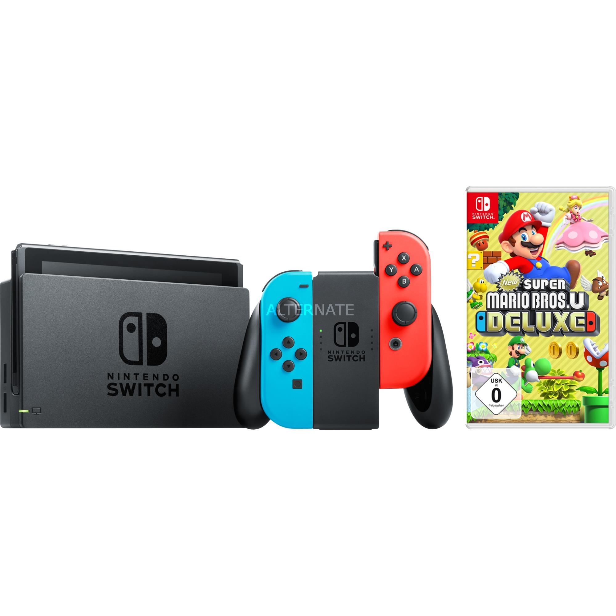 Switch, Spielkonsole (neon-rot/neon-blau, inkl  New Super Mario Bros  U  Deluxe)