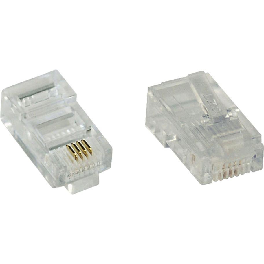 inline modularstecker 8p4c rj45, 10er transparent, zum crimpen auf