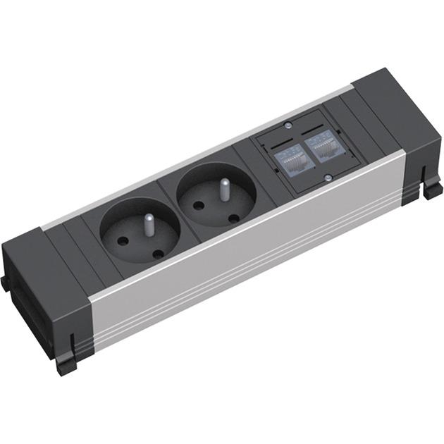 Bachmann Power Frame 2xUTE 2xCAT5e kurz, Steckdosenleiste